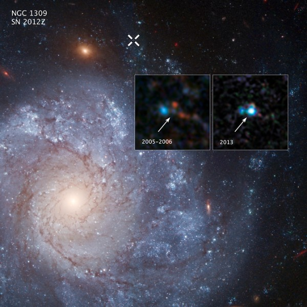 The two inset images show before-and-after images captured by NASA's Hubble Space Telescope of Supernova 2012Z in the spiral galaxy NGC 1309. The white X at the top of the main image marks the location of the supernova in the galaxy. Image Credit: NASA, ESA