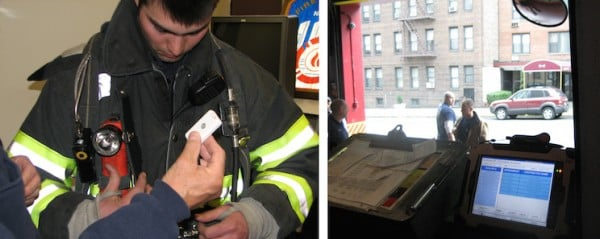 """Fire Department New York uses a U.S. Naval Research Laboratory (NRL) system to automatically track firefighters. """"That's the intention with this device, to make sure everyone's accounted for,"""" says David DeRieux, one of the inventors. Left: NRL worked with firefighters to determine where to add the RFID pocket. Right: The truck's onboard computer displays a table of who, based on their unique RFID tags, is nearby. (Photo: U.S. Naval Research Laboratory)"""