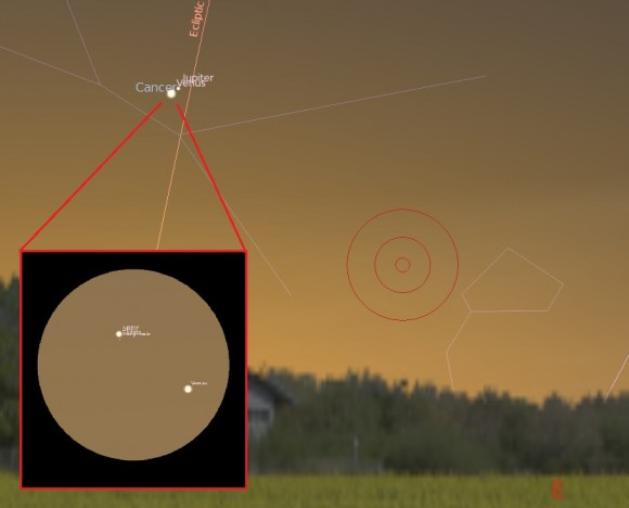The view looking eastward at dawn on August 18th, including a five degree telrad (red circles) and a one degree telescopic field of view (inset). Created using Stellarium.