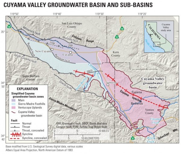 Cuyama Valley groundwater basin and sub-basins. Credit: USGS