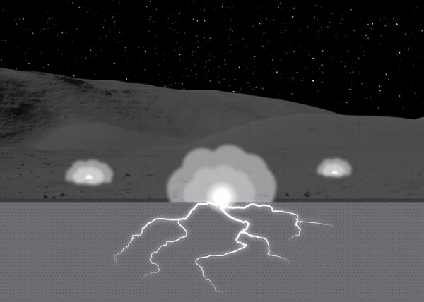 "This illustration shows a permanently shadowed region of the moon undergoing subsurface sparking (the ""lightning bolts""), which ejects vaporized material (the ""clouds"") from the surface. Subsurface sparking occurs at a depth of about one millimeter. Image not to scale. Image Credit: Andrew Jordan/UNH"