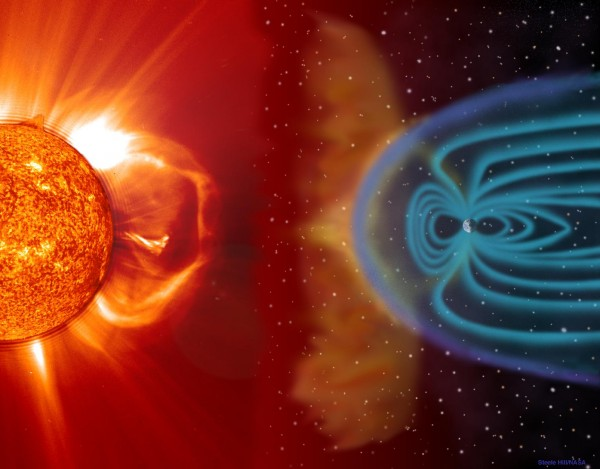 Illustration of how material ejected from the Sun (on the left) can interact with the magnetic field of the Earth (on the right), causing space weather. The blue lines surrounding the Earth represent its magnetic field. Credit: NASA.