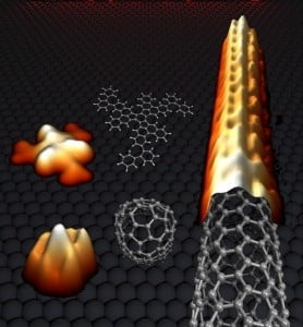 Even a nanotube has small beginnings: An end cap is produced from planar carbon, which forms the seed for the growth of a carbon nanotube. In the figure on the left, the computer images calculated were supplemented with images taken with a scanning tunnelling microscope. © Empa / Juan-Ramon Sanchez