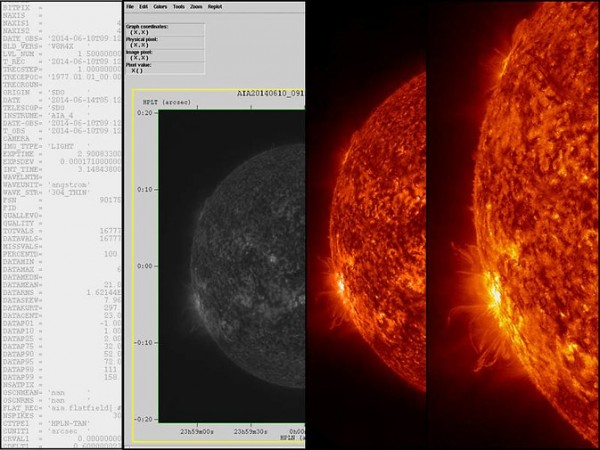 Spacecraft record solar activity as a binary code, 1s and 0s, which computer programs can translate into black and white. Scientists colorize the images for realism, and then zoom in on areas of interest. Image Credit: NASA/Karen Fox
