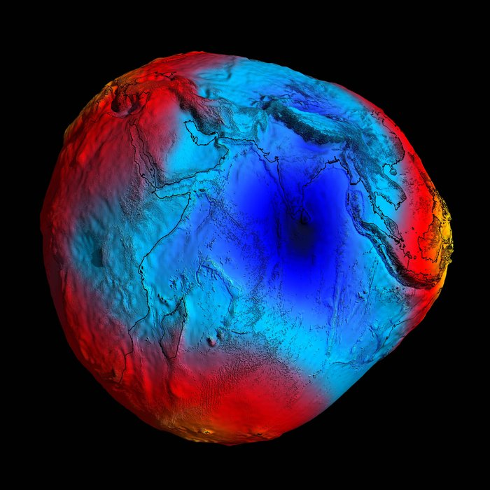 In 2001, GOCE delivered a model of the 'geoid' pictured here. At the time, it was the most accurate ever produced. The colours in the image represent deviations in height (–100 m to +100 m) from an ideal geoid. The blue shades represent low values and the reds/yellows represent high values. A precise model of Earth's geoid is essential for deriving accurate measurements of ocean circulation, sea-level change and terrestrial ice dynamics. The geoid is also used as a reference surface from which to map the topographical features on the planet. In addition, a better understanding of variations in the gravity field will lead to a deeper understanding of Earth's interior, such as the physics and dynamics associated with volcanic activity and earthquakes. By the middle of 2014, no less than five gravity field models and corresponding geoids had been generated from GOCE's data. Each version more accurate than the last. The fifth gravity model and geoid, includes all of the gravity data collected throughout the lifetime of the mission – right up until November 2013 when the satellite finally stopped working and succumbed to the force it was designed to measure. Copyright ESA/HPF/DLR