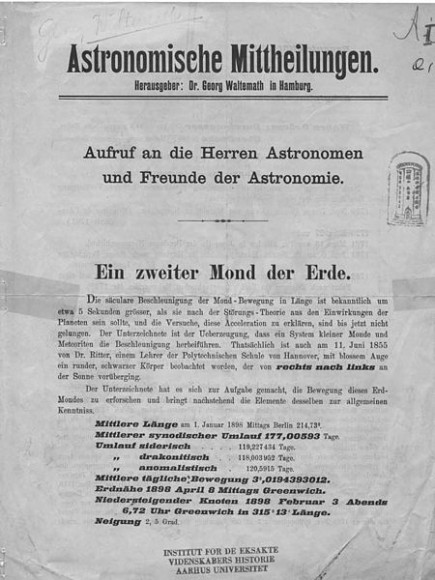 """The announcement (in German) of the discovery of Waltemath's Moon. """"Ein zweiter Mond der Erde"""" translates into """"a second Earth moon."""" Credit: Wikimedia Commons image in the public domain."""