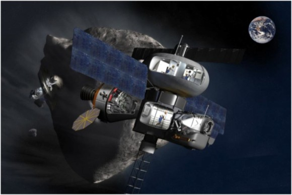 An artist's concept of a possible future asteroid mission near Earth. Credit: NASA.