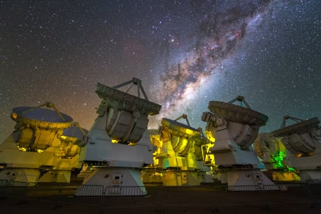 The vibrant, starry stream of the Milky Way frames radio telescopes of the Atacama Large Millimeter/submillimeter Array - known as the ALMA Observatory - in Chile's Atacama Desert. Image credit: Y. Beletsky/ESO