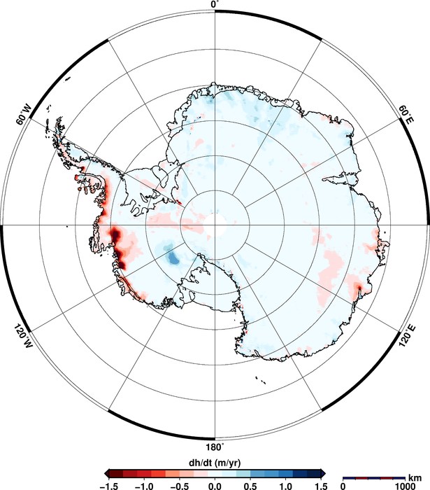 Using 200 million measurements collected by ESA's CryoSat mission between January 2011 and January 2014, researchers from the Alfred Wegener Institute in Germany have discovered that the Antarctic ice sheet is shrinking in volume by 125 cubic kilometres a year. The study, which was published in a paper published on 20 August 2014 in the European Geosciences Union's Cryosphere journal, also showed that Greenland is losing about 375 cubic kilometres a year. Read full article.
