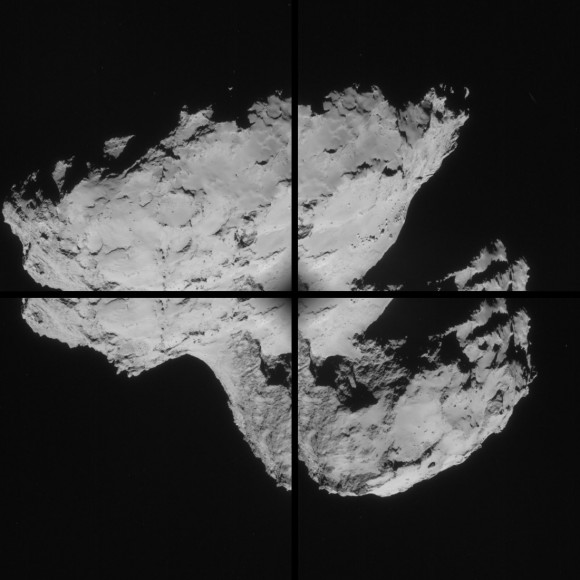 Four-image montage comprising images taken by Rosetta's navigation camera on 31 August 2014 from a distance of 61 km from comet 67P/Churyumov-Gerasimenko. The comet nucleus is about 4 km across. Credits: ESA/Rosetta/NAVCAM