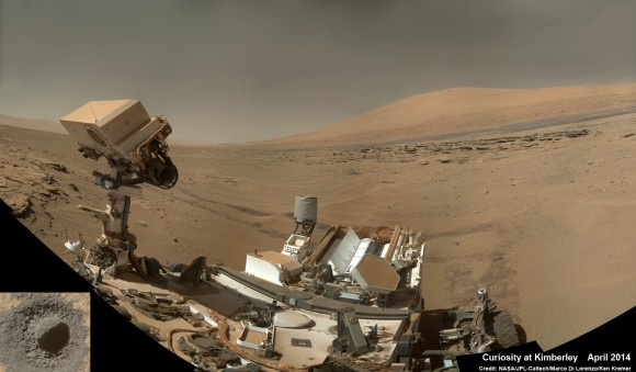 """Curiosity snaps selfie at Kimberley waypoint with towering Mount Sharp backdrop on April 27, 2014 (Sol 613). Inset shows MAHLI camera image of rovers mini-drill test operation on April 29, 2014 (Sol 615) into """"Windjama"""" rock target at Mount Remarkable butte. MAHLI color photo mosaic assembled from raw images snapped on Sol 613, April 27, 2014. Credit: NASA/JPL/MSSS/Marco Di Lorenzo/Ken Kremer"""