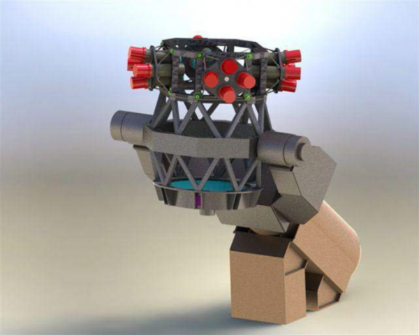 A new, European telescope nicknamed 'fly-eye' splits the image into 16 smaller subimages to expand the field of view, similar to the technique exploited by a fly's compound eye. Such fly-eyed survey telescopes provide a very large field of view: 6.7° x 6.7° or about 45 square degrees. 6.7° is about 13 times the diameter of the Moon as seen from the Earth (roughly 0.5 degrees). In the telescope, a single mirror of 1 m equivalent aperture collects the light from the entire 6.7° x 6.7° field of view and feeds a pyramid-shaped beam splitter with 16 facets. The complete field of view is then imaged by 16 separate cameras. The red caps in the image are the covers over the 16 cameras that contain the 16 detectors. The tubes contain a set of secondary lenses. In mid-2014, ESA signed a contract for about €1 million with a consortium led by CGS S.p.A (Italy), comprising Creotech Instruments S.A. (Poland), SC EnviroScopY SRL (Romania) and Pro Optica S.A. (Romania) for the detailed design of the advanced telescope. Copyright ESA/Compagnia Generale dello Spazio CGS