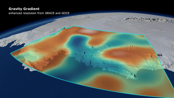 Changes in Earth's gravity field resulting from loss of ice from West Antarctica between November 2009 and June 2012 (mE = 10–12 s–2).  A combination of data from ESA's GOCE mission and NASA's Grace satellites shows the 'vertical gravity gradient change'. Copyright DGFI/Planetary Visions