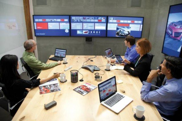 Oblong's collaborative-conferencing system, Mezzanine, being used in a conference room. Courtesy of Oblong Industries