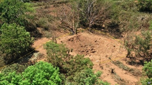 The suspect crater on the outskirts of Managua. Credit: AP/BBC News