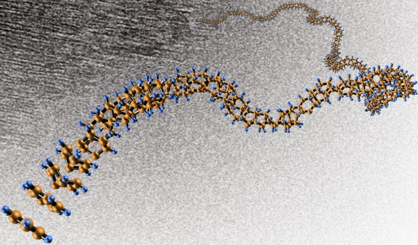 """Diamond nanothreads"" promise extraordinary properties, including strength and stiffness greater than that of today's strongest nanotubes and polymers. The threads have a structure that has never been seen before. Image is credited to the Vincent Crespi lab, Penn State University."