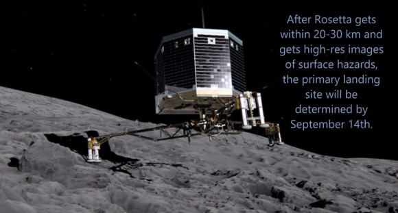 Artist's illustration of Philae upon touchdown. The lander is capable of landing on up to 30% slopes. (Credits: ESA)