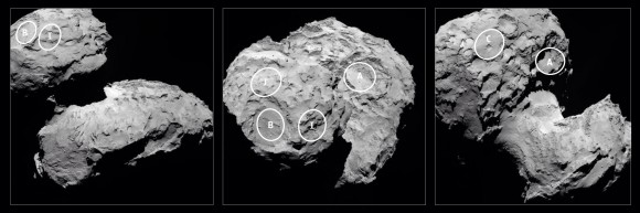 Five candidate landing sites on 67P as viewed from three perspectives. Down selection from 10 to 5 was announced August 25. The final selection is to be announced by September 14th for the landing scheduled on November 11th. (Photo Credit: ESA)