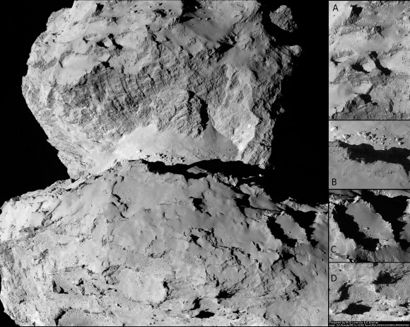 This image of comet 67P/Churyumov-Gerasimenko shows the diversity of surface structures on the comet's nucleus. It was taken by the Rosetta spacecraft's OSIRIS narrow-angle camera on August 7, 2014. At the time, the spacecraft was 65 miles (104 kilometers) away from the 2.5 mile (4 kilometer) wide nucleus. Credit: ESA/Rosetta/MPS for OSIRIS Team MPS/UPD/LAM/IAA/SSO/INTA/UPM/DASP/IDA/Enhanced processing Marco Di Lorenzo/Ken Kremer
