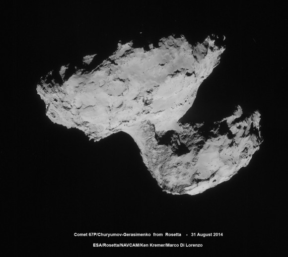 Four-image photo mosaic comprising images taken by Rosetta's navigation camera on 31 August 2014 from a distance of 61 km from comet 67P/Churyumov-Gerasimenko. The mosaic has been contrast enhanced to bring out details. The comet nucleus is about 4 km across. Credits: ESA/Rosetta/NAVCAM/Ken Kremer/Marco Di Lorenzo See rotated version below