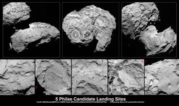 Five candidate sites were identified on Comet 67P/Churyumov-Gerasimenko for Rosetta's Philae lander. The approximate locations of the five regions are marked on these OSIRIS narrow-angle camera images taken on 16 August 2014 from a distance of about 100 km. Enlarged insets below highlight 5 landing zones. Credits: ESA/Rosetta/MPS for OSIRIS Team MPS/UPD/LAM/IAA/SSO/INTA/UPM/DASP/IDA Processing: Marco Di Lorenzo/Ken Kremer