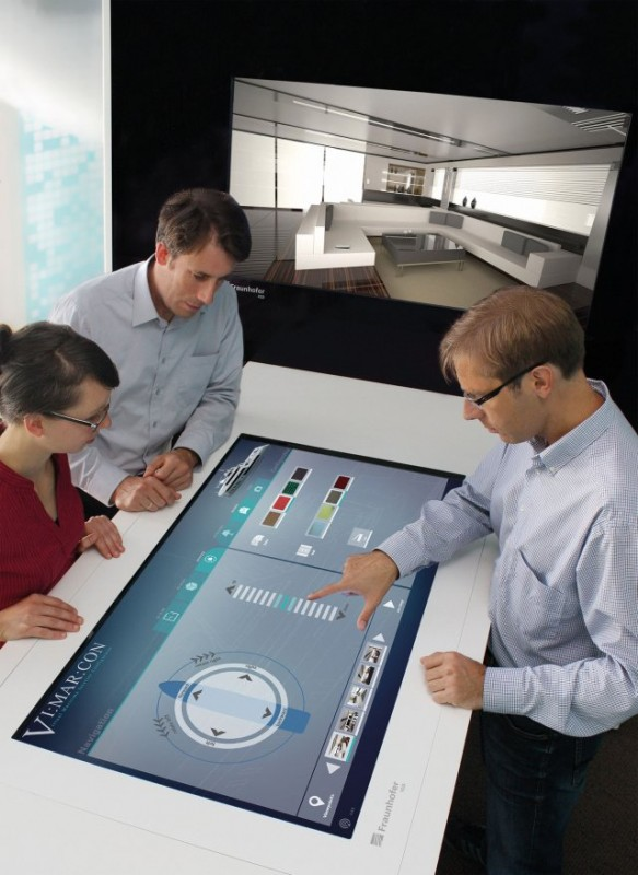 "Using the Virtual Maritime Interior Configurator (or ""VI:MAR:CON"" for short), the interior can already be designed prior to actual construction at the Multi-touch table, by means of VR technologies in an interactive 3D model. © Fraunhofer IGD"