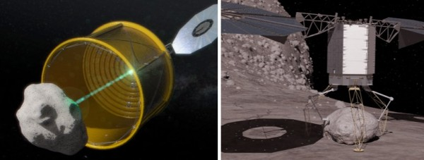 On the left, a notional concept image of ARM robotic capture option A, which would envelop an entire free-flying asteroid. On the right, a notional concept image of ARM robotic capture option B, which would retrieve a bolder from a larger asteroid. Image Credit: NASA