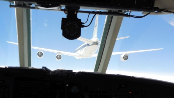 The view from inside NASA's HU-25C Guardian sampling aircraft from very close behind the DC-8. Image Credit: NASA / SSAI Edward Winstead