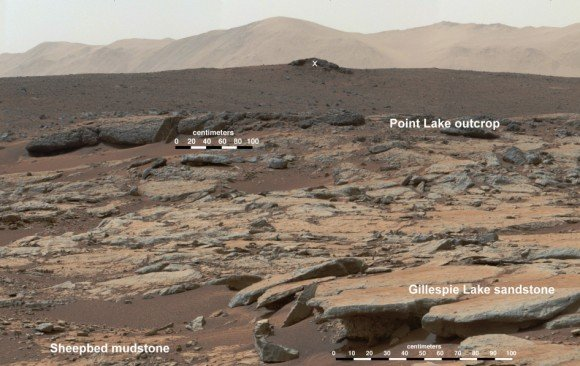"""Outcrops in Yellowknife Bay are being exposed by wind driven erosion. These rocks record superimposed ancient lake and stream deposits that offered past environmental conditions favorable for microbial life. This image mosaic from the Mast Camera instrument on NASA's Curiosity Mars rover shows a series of sedimentary deposits in the Glenelg area of Gale Crater, from a perspective in Yellowknife Bay looking toward west-northwest. The """"Cumberland"""" rock that the rover drilled for a sample of the Sheepbed mudstone deposit (at lower left in this scene) has been exposed at the surface for only about 80 million years. Credit: NASA/JPL-Caltech/MSSS"""