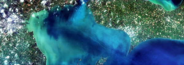 A Hyperspectral Imager for the Coastal Ocean (HICO) image of western Lake Erie, Aug. 15, 2014, taken from the orbital perspective of the International Space Station. Image Credit: HICO Team/Naval Research Laboratory