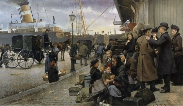 Picture: Danish emigrants waiting to board their ship. Author: Edvard Petersen. Year: 1890. Source: art.hopegallery.com