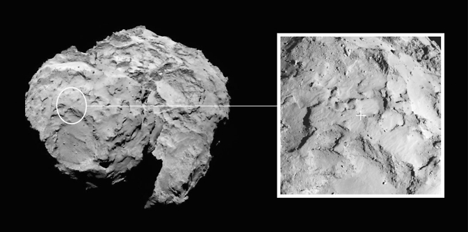 Image depicts the primary landing site on comet 67P/Churyumov-Gerasimenko chosen for the European Space Agency's Rosetta mission. Image Credit: ESA/Rosetta/MPS for OSIRIS Team MPS/UPD/LAM/IAA/SSO/INTA/UPM