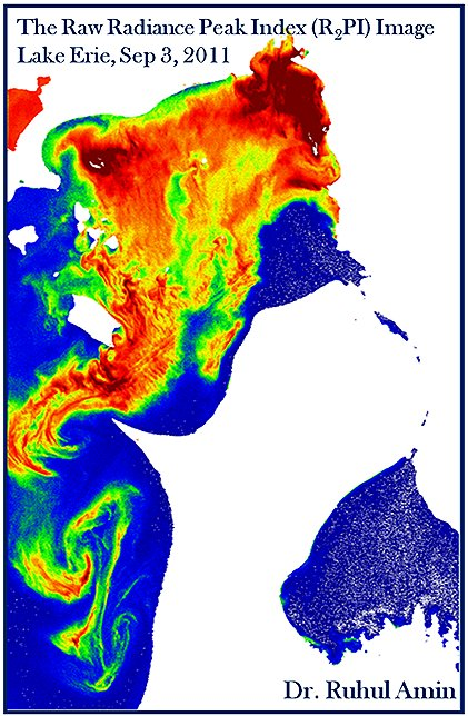 An example of how researchers can use Hyperspectral Imager for the Coastal Ocean (HICO) data to identify algal bloom characteristics, this one detailing a massive Microcystis bloom in western Lake Erie, Sept. 3, 2011. Image Credit: Ruhul Amin, Ph.D.