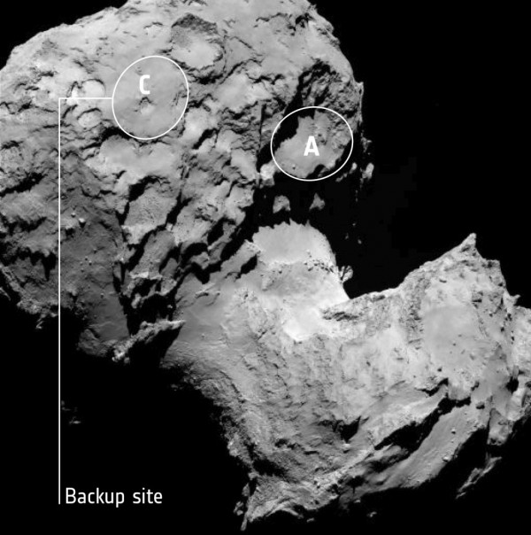This annotated image depicts the backup landing site (Site C) chosen for the Rosetta spacecraft's Philae lander. Image Credit: ESA/Rosetta/MPS for OSIRIS Team MPS/UPD/LAM/IAA/SSO/INTA/UPM