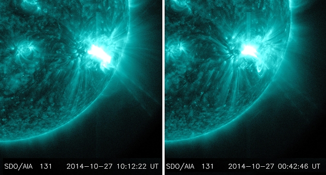 NASA's SDO captured images of two M-class flares erupting from the same region on the sun. The flare on the left peaked at 8:34 pm EDT on Oct. 26, 2014; the flare on the right peaked at 6:09 am EDT on Oct. 27, 2014. The images show EUV light of 131 Angstroms, which is typically colorized in teal. Image Credit: NASA/SDO