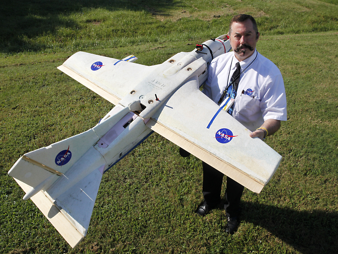 NASA researcher Mike Logan plans to use this small unmanned aerial vehicle to check for fires at a Virginia-North Carolina wildlife refuge as part of an agreement with the U.S. Fish and Wildlife Service. Image Credit: NASA Langley/David C. Bowman