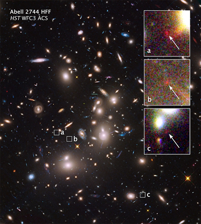 The mammoth galaxy cluster Abell 2744 is so massive that its powerful gravity bends the light from galaxies far behind it, making these otherwise unseen background objects appear larger and brighter than they would normally. Image Credit: NASA, J. Lotz, (STScI)