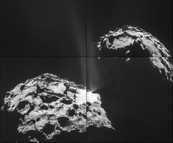 Jets of gas and dust are seen escaping comet 67P/C-G on September 26 in this four-image mosaic. Credit: ESA/Rosetta/NAVCAM