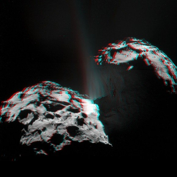 3D view created by Mattias Malmer of the recent ESA image (below) showing multiple jets of gas and dust spraying from Comet 67P/Churyumov-Gerasimenko. Grab your red-blue plastic glasses and prepare to enter another dimension. Credit: ESA/Rosetta/NAVCAM/processing by Mattias Malmer