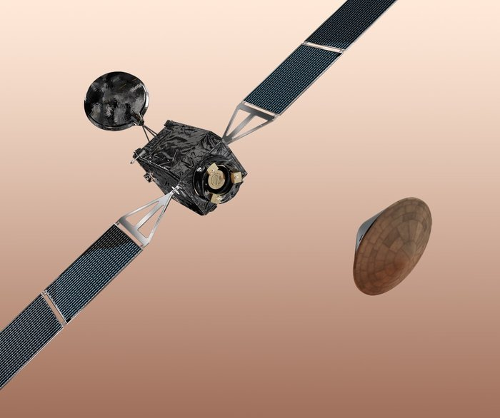 The ExoMars Trace Gas Orbiter (TGO), along with an Entry, Descent and Landing Demonstrator Module (EDM), form the first mission in the ExoMars programme. The Orbiter and EDM are scheduled to arrive at Mars in 2016. The ExoMars Orbiter will accomodate a suite of instruments to carry out a series of scientific investigations, including the search for evidence of methane and other trace gases in the Martian atmosphere. The ExoMars EDM constitutes a technology platform whose main goal is to enable Europe to acquire the capability to land on Mars. Although designed to demonstrate entry, descent and landing technologies, the EDM also offers limited, but useful, science capabilities. Copyright ESA/AOES Medialab