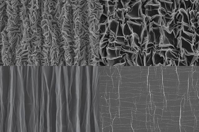 To form the crumpled graphene, a sheet of polymer material is stretched in both dimensions, then graphene paper is bonded to it. When the polymer is released in one direction, the graphene forms pleats, as shown in the bottom images, taken with a scanning electron microscope (SEM). Then, when released in the other direction, it forms a chaotic crumpled pattern (top images). The right pair of SEM images shows the material at higher magnification than the left-hand images. Image courtesy of the researchers