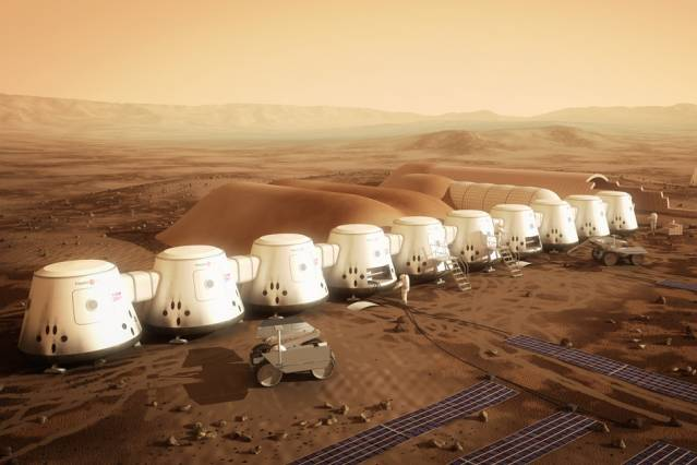 The non-profit company Mars One plans to establish the first human settlement on Mars by 2025. Pictured is an artist's rendering of a series of habitats. Solar panels (in the foreground), would supply the colony's electricity, while a system to extract water from the soil (in the background) would supply drinking water.  Courtesy of Bryan Versteeg/Mars One
