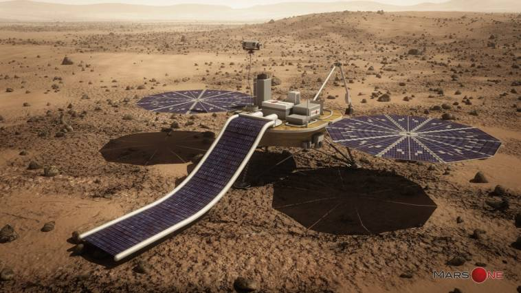 An artist's rendering of a Mars Lander, which will transport the first settlers to the Martian surface. Courtesy of Mars One