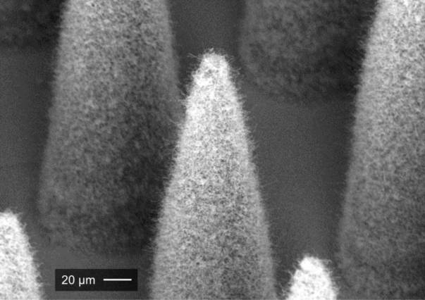 An electrospray emitter, which is covered by a conformal forest of carbon nanotubes. Image: Journal of Micrelectromechanical Systems