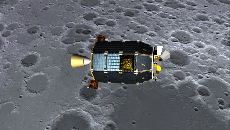An artist's concept of NASA's Lunar Atmosphere and Dust Environment Explorer (LADEE) spacecraft seen orbiting near the surface of the moon. Image Credit: NASA Ames/Dana Berry