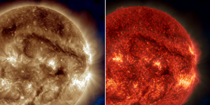 A dark snaking line in the upper right of these images on Sept. 30, 2014, show a filament of solar material hovering above the sun's surface. NASA's SDO captured the images in extreme UV light – different colors represent different wavelengths of light and different temperatures of solar material. Image Credit: NASA/SDO