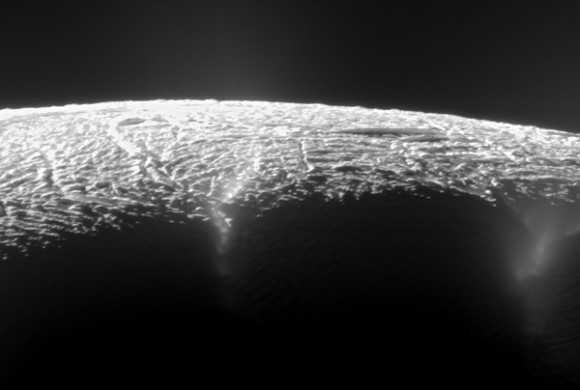 Elevated View of Enceladus' South Pole. Credit: NASA/JPL