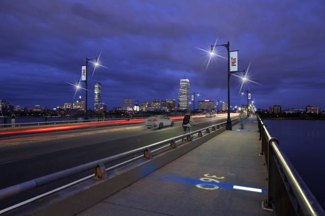 The Harvard Bridge on Mass. Ave. will feature new LED lights spaced 30 Smoots apart. Image courtesy of Rosales + Partners.