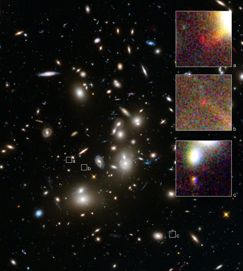 This is a NASA/ESA Hubble Space Telescope image of the huge galaxy cluster Abell 2744, taken using the Wide Field Camera 3 and Advanced Camera for Surveys. The three annotated areas show three images of a single, very distant, galaxy whose light has taken 13 billion years to reach us. The galaxy has been magnified and multiplied by the cluster's effect on the space-time around it. By measuring the angular separations between the three magnified images of the galaxy a team of astronomers were able to further constrain their measurement of the galaxy's distance from Earth. Much like using your camera to focus on an object and then reading its distance from you on the lens focus ring. As a result, this is possibly the most reliable distance measurement yet for an object that existed in the Universe's formative years. Credit: NASA, ESA  Acknowledgement: A. Zitrin (California Institute of Technology, USA)