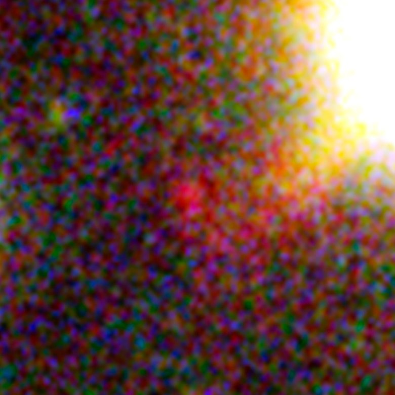 This image, taken with the NASA/ESA Hubble Space Telescope, shows one of three images of the same very distant galaxy whose light has taken 13 billion years to reach us. The galaxy has been magnified and multiply imaged by the lensing effect of the galaxy cluster Abell 2744. Credit: NASA, ESA. Acknowledgement: A. Zitrin (California Institute of Technology, USA)